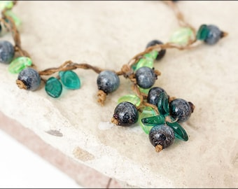 T-form blueberry necklace  - Great boho nature necklace - Lampwork berries bijou - Blueberry jewelry