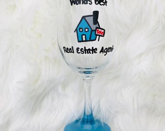 Real Estate Agent handpainted wine glass