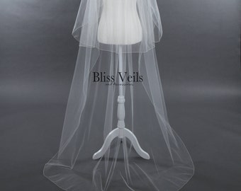 2 Layer Wedding Veil,  Long Veil, Ivory Cathedral Veil, Chapel Veil - Available in 10 Sizes & 11 Colors!  Fast Shipping!