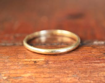 """1970s 14K Vintage """"Artcarved"""" Engraved Thin Stackable Wedding Band in Yellow Gold"""