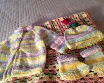 All inclusive hand knitted baby girl layette
