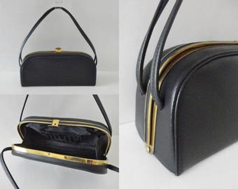 Black 40s/50s Vintage Box Bag // Golden Closure // Vegan