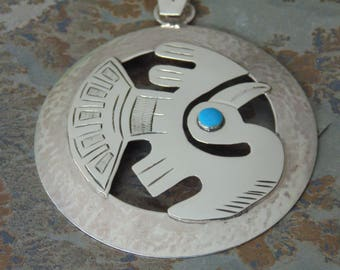 Large Peruvian Sterling Silver Round Pendant with Applied Pelican / Bird with Blue Eye