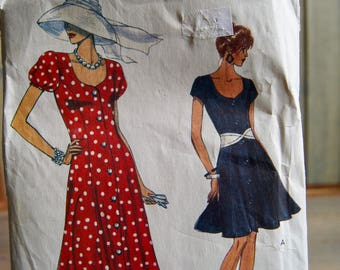 Very Easy Very Vogue - 8384 Pattern- Size 12-14-16 - Misses Dresses - Fitted Flared Dress - 1992 Vintage