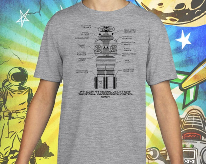 Lost in Space / Classic B-9 Robot / Gray Child Size Performance T-Shirt