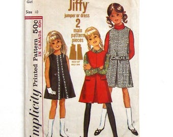 Vintage 1965 Simplicity Girls' Jiffy Jumper or Dress Sewing Pattern #6151 - Size 10 (Breast 28)