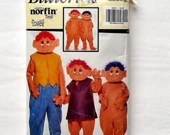 Butterick Children's Full Body Troll Costume Pattern #6385 - Sizes XS (4-5) + S (6-7) + M (8-10) + L (12-14)