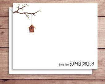 Flat Note Cards - Bird House Flat Notes - Flat Thank You Cards- Illustrated Note Cards