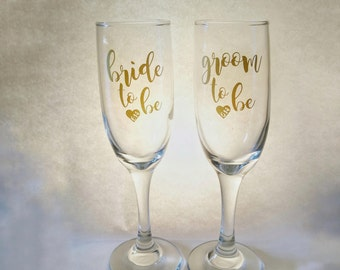 Future Bride and Groom Champagne Glasses, Engagement Champagne Glasses with Date
