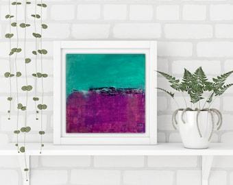 "Square turquoise and purple abstract art print, art wall print, modern art print, colourful happy art ""Joy"""