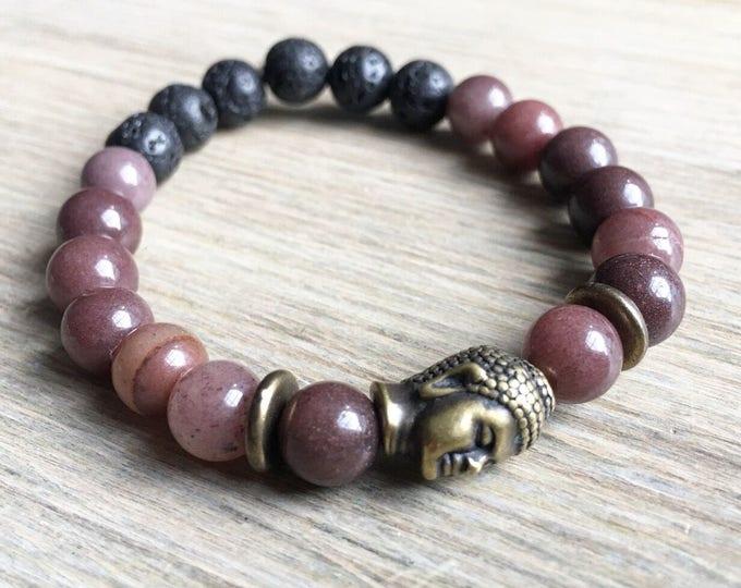 Purple Aventurine Lava Bracelet, Buddha Bracelet, Essential Oil, Aromatherapy, Yoga Bracelet, Meditation, Chakra Healing, Stretch Cord