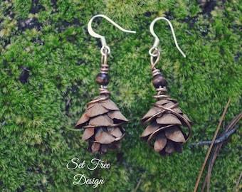 Real Pinecone Earrings