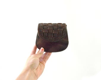 Vintage Small Brown Leather Coin Purse