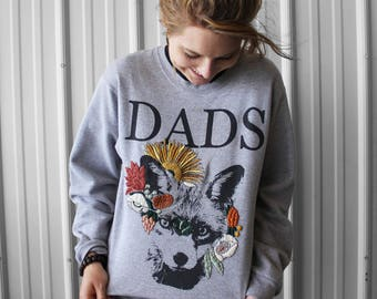 Price Reduced. Finished floral sweatshirt, unisex, size small, ironic clothing.  Features a fox and colorful florals.