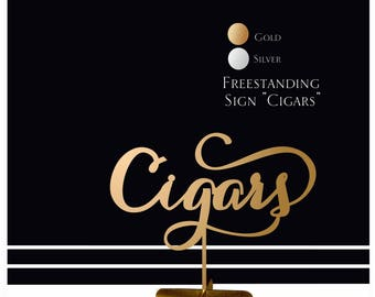 Table sign. Gold freestanding signs for wedding table.