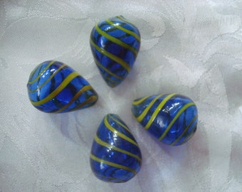6 Cobalt Blue Hollow Lampwork Plump TearDrops with Yellow Stripes. 23x17mm. Deep Blue w/Yellow-Gold Stripes LIMITED # ~USPS Ship Rates/OR