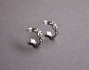 Sterling Silver Hoop Earrings Small Hoops Leaves Hoop Earrings Tiny Leaves Silver Hoops Small, Bohemian Jewelry Boho Earrings,Nature Jewelry