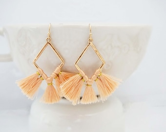 Peach and Gold Geo Tassel Earrings