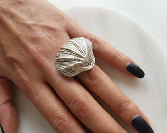 Ottoman ring//Silver plated ring/turkish jewelry//Shell/Sea