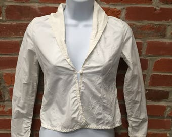Vintage 90s White Embroidered Shirt Ruched Sleeves