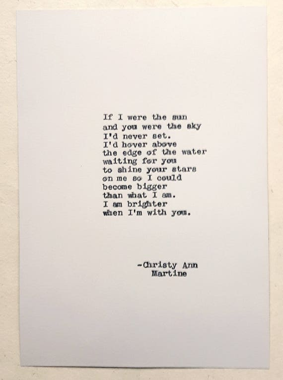 Anniversary Gifts for Boyfriend - Romantic Gifts for Him - Love Poem Typed by Writer with Antique Typewriter