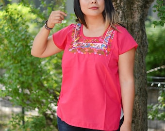 XL Mexican hand embroidered pink blouse, San Antonino hand embroidered blouse, ethnic clothing, fair trade fashion