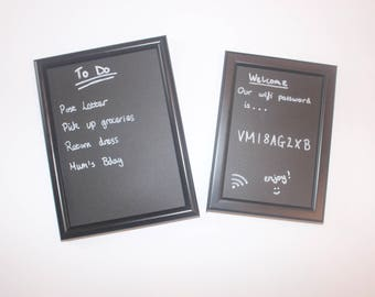 Chalkboard frame - Blackboard frame - chalkboard vinyl framed for personal use - message board - home decor - house signs frame