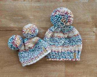 Mom & Me Knit Winter Hat Set / Multi Color / Giant Pom Pom / Double Pom Pom / Toddler Kid / Adult
