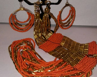 Estate Orange and gold multi strand Egyptian style long drape necklace earring demi set handmade