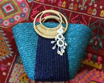 Blue Straw Bag - Beach Bag - Straw Tote - Straw Beach Bag - Pom Pom Bag - Pom Pom Basket - Beach Tote - Pom Pom Straw Bag - Boho Bag