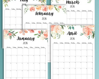 2018 Planner, Monthly Dated Planner 2018, Floral Calendar Printable 2018, Wall Calendar 2018, Watercolor, Big Happy Planner, Brushlettering