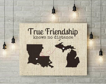 Friends Long Distance Map   Burlap Art Print   Two States Map   Gift For Friend   Valentines Day Gift Ideas   Birthday Gift - 56177