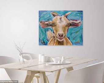 Goat canvas art print, goat decor.  Canvas goat print from original canvas goat painting. Goat Prints, Goat Art on Canvas