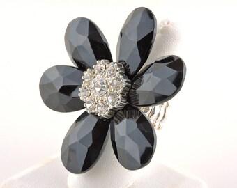 Size 7 Adjustable Black Rhinestone Flower Stretchy Band Ring