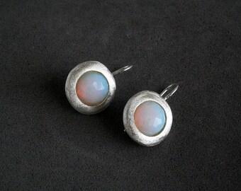 Opalite earrings, Round silver earrings, Sparkle  earrings, Round opalite earrings, Gemstone wedding earrings ,Opalite jewelry