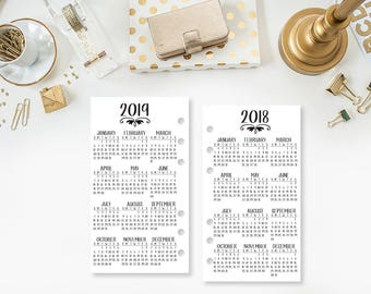 Personal 2018-2019 Year at Glance Personal Wide - printed planner insert - year in review - yearly planner insert