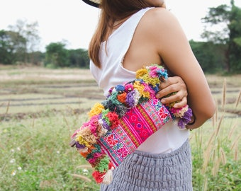 Handcrafted Hairs & Pom Poms Clutch Purse for Women, Vintage Hmong Embroidered Cosmetic Wristlet, Fair Trade Boho Clutch Bag - BG521VPIN