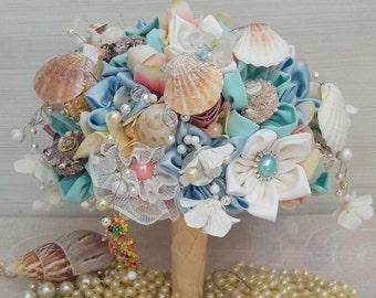 Seashell Bouquet, Beach Wedding, Sea Shell Bridal Bouquet, Beach, Ocean, Destination Wedding, Sea Shells, Bride's Bouquet, eloping, burlap