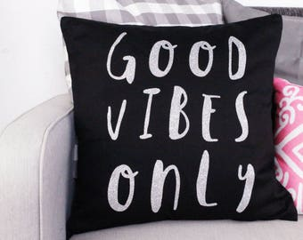 Cushion Cover - Good Vibes Only - 45cm Large - Decorative Pillow - Cotton Canvas - Black with Silver Glitter