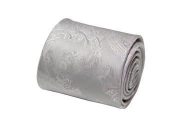 Silver Grey Paisley Ties. Mens Silver Gray Silk Ties.Standard Width.Silver Wedding Ties.Gifts.