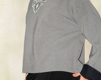 Grey color, Romantic,  Long sleeve, Crop top, Cropped, Handmade to order, LOU-BAC, New, September, Fall/Winter, Melange,  Cotton/Wool.