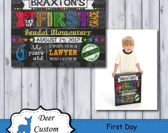 First Day of School Sign | Printable First Day | School Sign | Any Grade | Back to School Sign | First Day of School | Chalkboard Sign