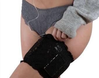 Lingerie-quality, Discreet, Black Stretch Lace Garter for Insulin Pump, Insulin Pen, or ID