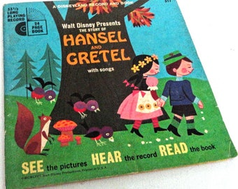 Vintage Walt Disney Presents The Story of Hansel and Gretel Book and Record
