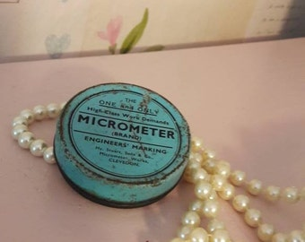 Vintage tin, micrometer tin, The one and only micrometer brand, Stuart & Sons, England, turquoise, man cave collectible, gift.