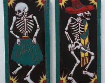 Vintage Dancing Skeletons Dia De Los Muertos Day of the Dead colorful Decorative Tiles