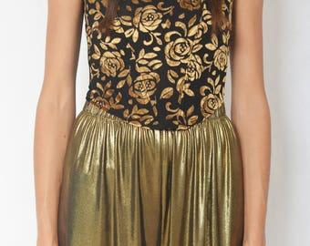 VELVET FLORAL CORSET -black, top, lingerie, roses, gothic, 90s, party, renaissance, sexy, crop, golden, witch-
