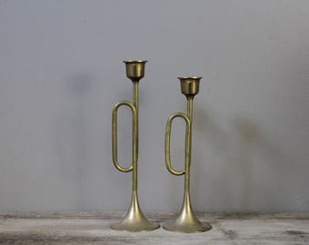 Pair of vintage brass horn candle holders | holiday decor