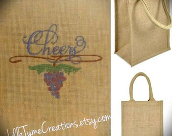 Natural Jute Tote 9x11x4, Wedding Welcome Gift Bag, Burlap Wine Tote, Client Gift Bag, Bridesmaids Tote, Custom Embroidered Shopping Bag.