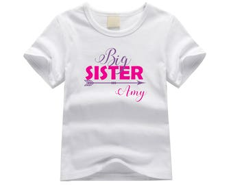 Personalized big sister shirt. Big sister arrow theme. Arrow big sister shirt. Big sister announcement. Pink and purple big sister tee.